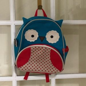"Skip Hop Owl Blue & Red Toddler 12"" Backpack"